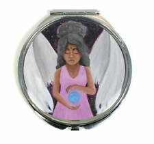 Angel of Clarity Handmade Compact Mirror - Black African Angel With Natural Hair