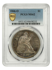 1846-O $1 PCGS MS62 - Popular New Orleans Issue - Liberty Seated Dollar