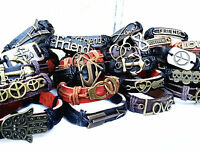 wholesale lots 30pcs mixed styles vintage alloy leather fashion cuff bracelets