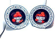 Chateau Valmont 2 decorative porcelain plates red purple fruits white blue rim