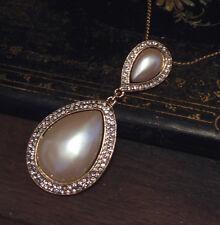 Elegant Vintage Crystal Encrusted Tear Drop Pearl Pendant Necklace