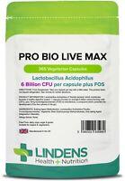 Pro Bio Live Max (365 pack) Acidophilus + FOS with Prebiotic  Lindens UK