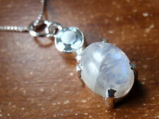 Pendant 925 Sterling Silver d29a Faceted Blue Topaz 4-Pronged Rainbow Moonstone
