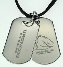 BRISBANE BRONCOS NRL MENS DOUBLE DOG TAG S/S LEATHER NECKLACE JEWELLERY
