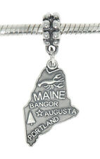 STERLING SILVER TRAVEL STATE MAP OF MAINE DANGLE EUROPEAN BEAD CHARM