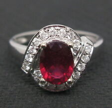 Solid 14K White Gold Genuine Natural Full Cut Diamond Blood Ruby Engagement Ring