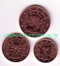 Pièces de 1,2,5cts euro d'Autriche 2005.