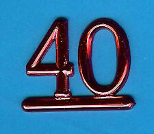 RED 40 NUMBERS / NUMERALS (Pk of 6) CAKE DECORATION / CARD MAKING