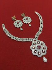 Indian Bollywood Ethnic CZ Gold Plated Fashion Jewelry Necklace Set