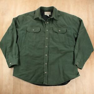 LL BEAN snap front quilt lined flannel camp shirt jacket XL green faded