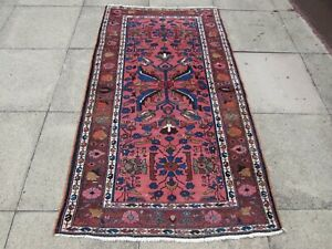 Antique Worn Hand Made Traditional Oriental Wool Pink Blue Red Rug 192x108 cm
