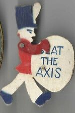 1943 pin WWII Homefront BEAT AXIS Figural DRUM MARCHING BAND Mechanical Drummer