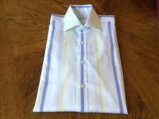 "Men's T M Lewin White, Blue & Yellow Stripe Long Sleeve Shirt - 15.5"" Extra Long"