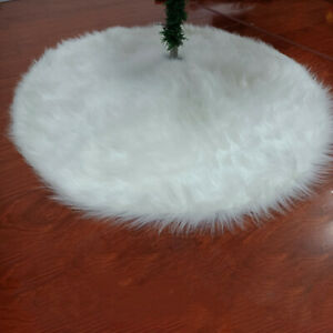 Christmas Tree Skirt White Faux Rabbit Fur Mat Home Xmas Floor Cover Ornament
