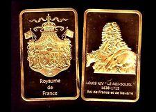 ★★ MAGNIFIQUE LINGOT PLAQUé OR ● ROIS DE FRANCE ● LOUIS XIV ★★