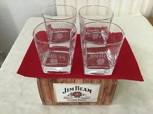 Vintage set of 4 Jim beam glasses 1980s new  in original box brand new