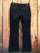 Silver Jeans SUKI Bootcut Flare Dark Distressed Blue Denim Sz 26 X 30 Stretch