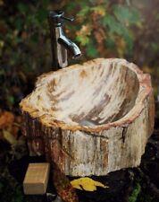 PWO-B Fossil Wood WASCHBECKEN Naturstein versteinertes Holz irregulär InduStone