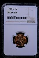 Collectors Coin 1951 D Red Wheat Penny US 1 Cent Graded by NGC MS 66 RD