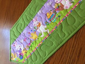 Handcrafted-Quilted Table Runner - Easter Bunny, Chicks, Egg in a Easter Parade