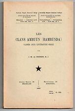 DECKER LES CLANS AMBUUN D'APRES LEUR LITTERATURE ORALE 1950 CONGO AFRIQUE
