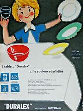 PUBLICITÉ DE PRESSE 1959 LA VAISSELLE EN VERRE TREMPÉ DURALEX COULEUR ST GOBAIN
