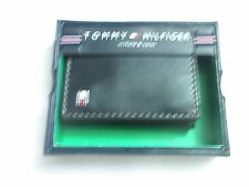 Tommy Hilfiger Leather Trifold Passcase Wallet (Gold Stitch) Black