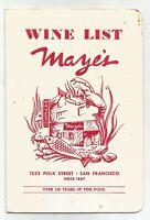 1970s Mayes Oyster House Wine Menu, Polk St, San Francisco, CA