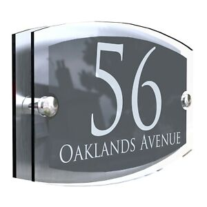 Anthracite House Sign Plaques Door Numbers Personalised Address Acrylic