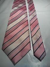 Hardy Amies Men's Vintage Silk Tie in an Embossed Pink and Black Stripe