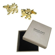 Mens Gold Lion Crest Animal Cufflinks & Gift Box By Onyx Art