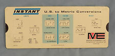 Vintage U.S.To Metric Conversion Slide Chart Length / Weight Martin Enterprises