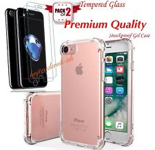 For iPhone 7 Plus Clear Shockproof Protective Transparent Case + Glass Screen Pr