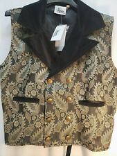 Mens Black Tan Brocade doublebreasted vest Steampunk Victorian Old West XXLARGE