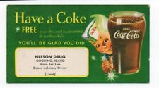 1950s Coca Cola Advertising Card with Coke Boy for Free Glass from Gooding Idaho