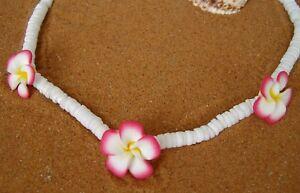 Hawaii Flower Kette mit 3 Bümchen  Muschel  verschiedene Farben