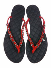 5f85a3176a21 CHANEL CC Chain-Link Sandals G30880 Red Suede with Black Size 38.5 US 8.5