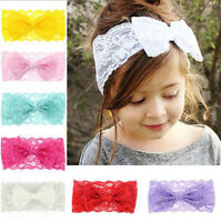 Lots 7PCS Kids Girl Baby Headband Toddler Lace Bow Flower Hair Band Accessories-