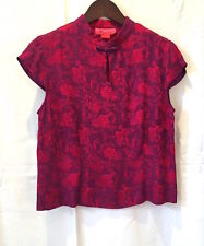 Monsoon 12 Fab! Silk Viscose Red & Cerise Chinese Top Dry Cleaned Perfect!