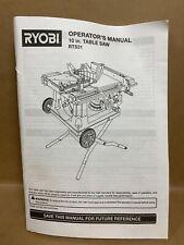 Ryobi Operator's Manual 10 Inch Table Saw RTS31