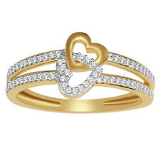 10K GOLD love engagement/promise ring, heart shaped with Round Diamonds