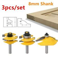 3pcs 8mm Shank Raised Panel Cabinet Door Router Bit Woodwork Milling Cutter Tool
