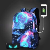 Unisex Girl Boy's Galaxy Pattern School Bag Travel Backpack Canvas USB Charger