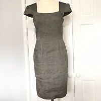 Joseph Womens Grey/ Brown Linen Mix Lined Fitted Dress Size 2 (UK 10) Immaculate