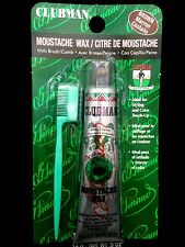 CLUBMAN PINAUD MOUSTACHE WAX WITH BRUSH/COMB IDEAL FOR STYLING TOUCH UP BROWN