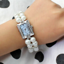 White Faux Pearl Rhinestone Bracelet Stretch-Square Dial Wristwatch Bangle Watch