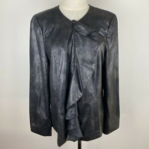Noni B Womens Black Ruffle Front Collarless Long Sleeve Lined Jacket Size M S9