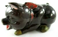 """Vintage 1958 Japanese Redware """"For My Cadillac"""" Hand Painted Piggy Bank *Flaws*"""