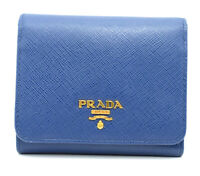 Authentic PRADA Leather Logo Wallet Women Purse Wallet Blue Trifold