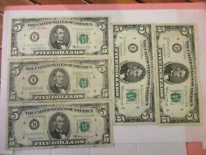 Lot de 5 Billets de 5 DOLLARS USA - ayant circulé - années variées